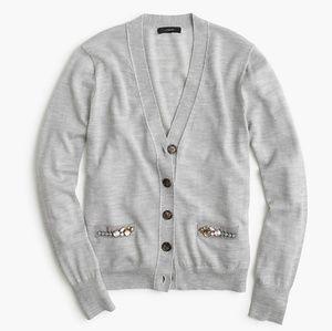 J. Crew V-Neck Cardigan with Embellished Pockets